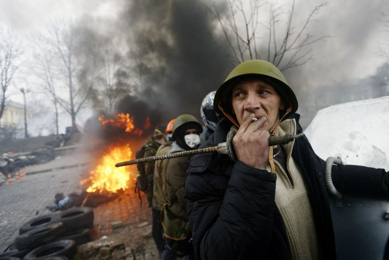 Anti-government protesters in Kiev, Ukraine, on Thursday.