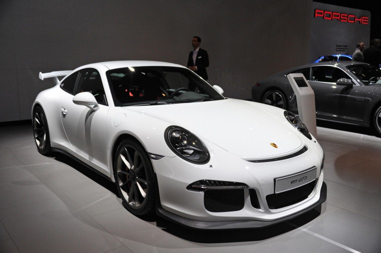 The Porsche 911 GT3 at The Brussels Motor Show. Porsche is recalling all its 2014 model year 911 GT3s after two burst into flames.