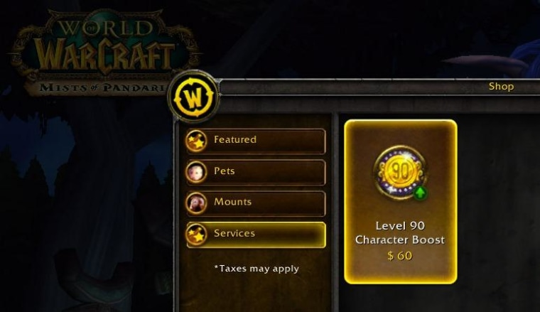 The $60 level boost is available in-game, and should appear on Blizzard's web store soon.