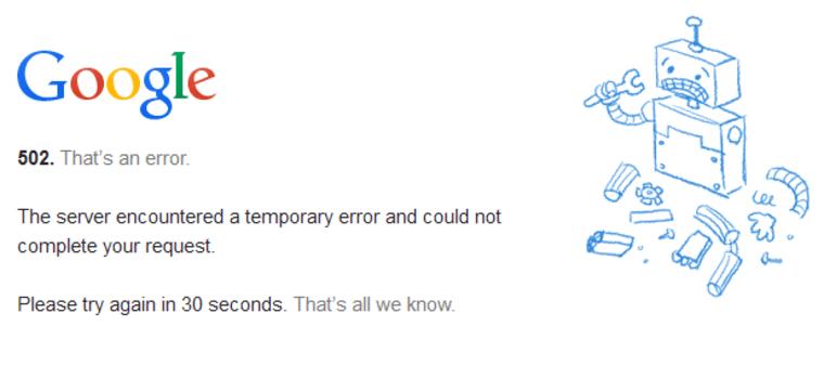 Image: A Google error page