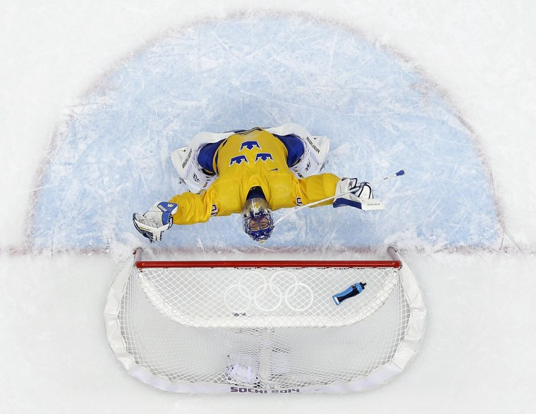Sweden goaltender Henrik Lundqvist reacts after a men's semifinal ice hockey game against Finland on Friday. Sweden won 2-1 to advance to the gold medal game.