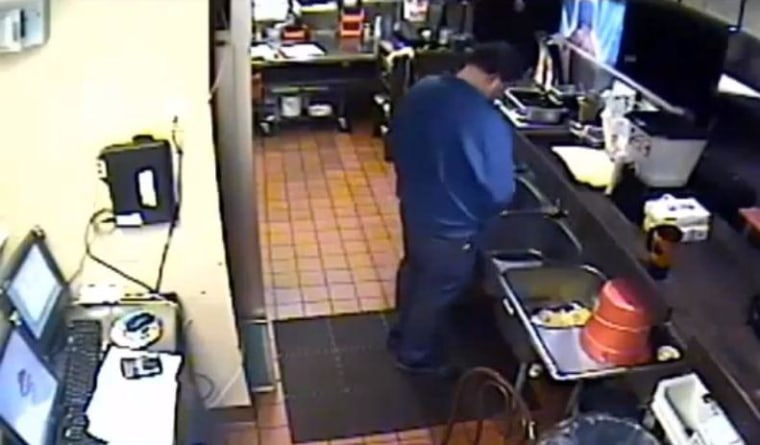 Pizza Hut district manager urinating in kitchen sink