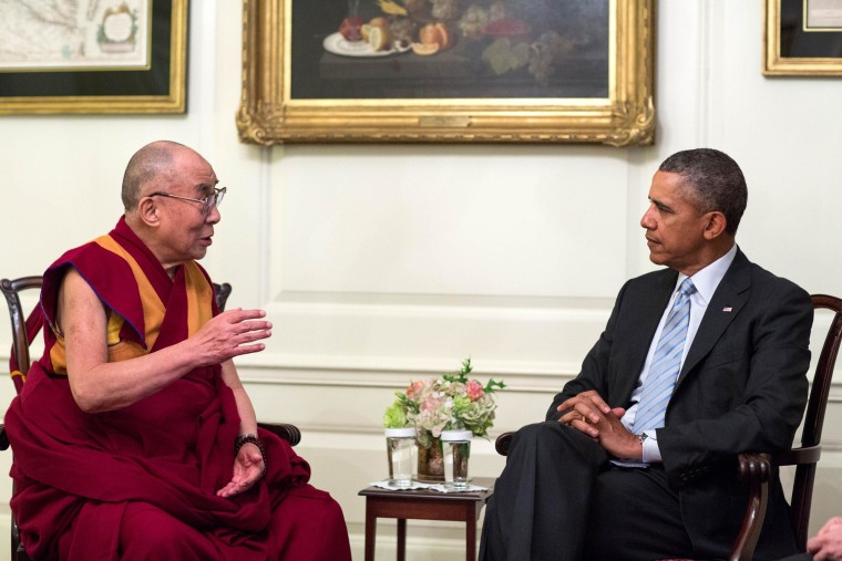 President Barack Obama meets with the Dalai Lama