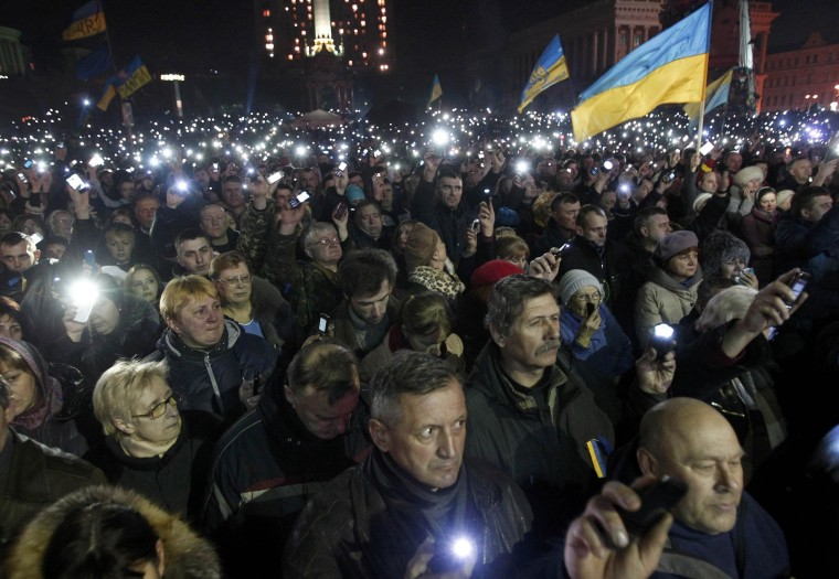 Anti-government protesters during a rally in central Independence Square in Kiev