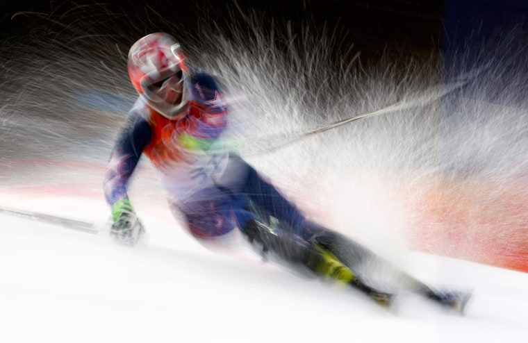 Image: Kasper of the U.S. competes in the first run of the men's alpine skiing slalom event at the Sochi 2014 Winter Olympics