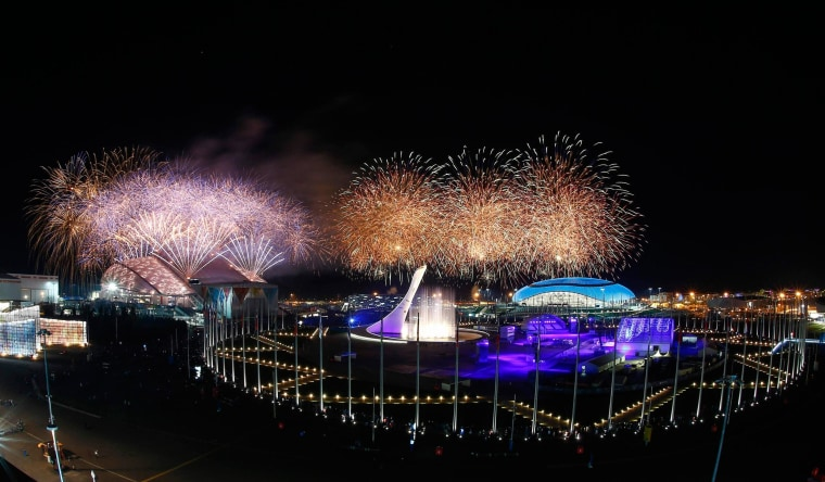 Image: Fireworks explode over the Olympic Park during the closing ceremony for the 2014 Sochi Winter Olympics