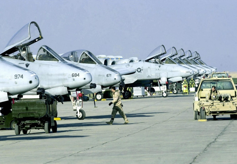 US Air Force A-10 fighters stand in line