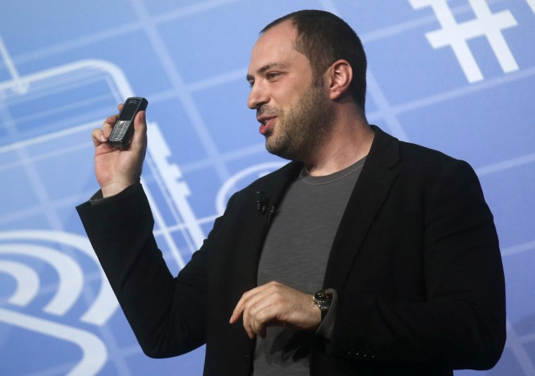 Image: WhatsApp CEO and co-founder Jan Koum delivers a speech at the Mobile World Congress in Barcelona