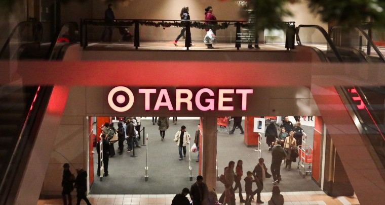 Image: Shoppers outside a Target store in New York.
