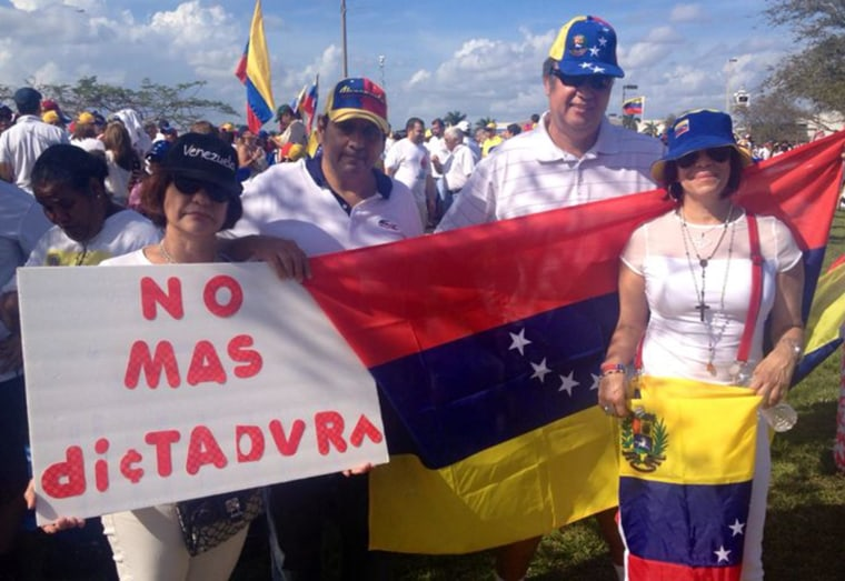 File photo of U.S. Venezuelans opposed to the Maduro government at a rally in Miami in Feb. 2014.