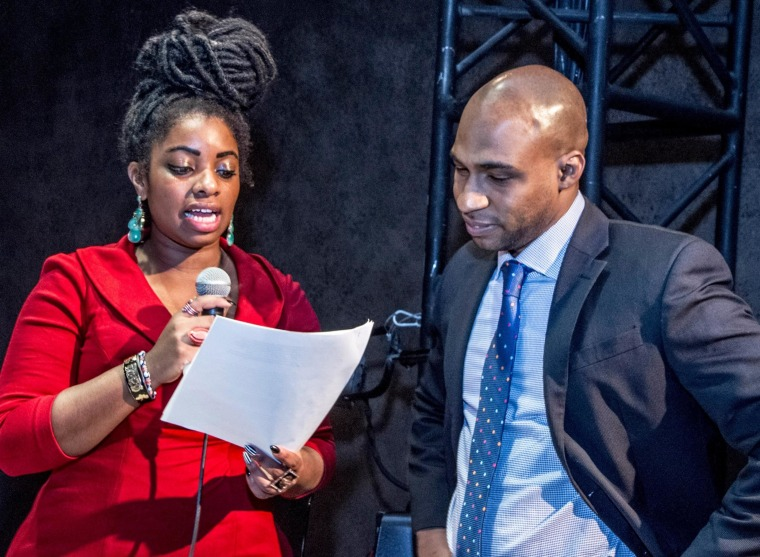 "Image: New York City filmmaker Dash Harris, left, and journalist Jefferson Asprilla, served as moderators to a panel at a forum ""Afro Latinos in the Diaspora"""