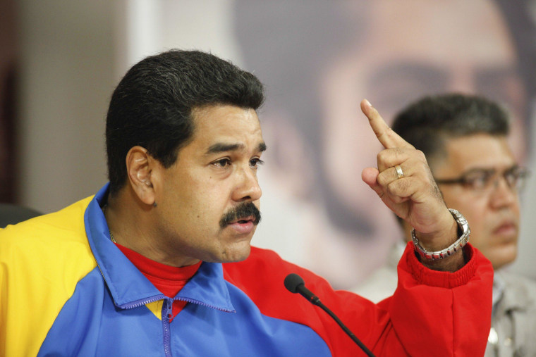 Venezuela's President Nicolas Maduro speaks during a national broadcast at Miraflores Palace in Caracas, February 16, 2014. On February 24 Maduro announced he plans to name a new ambassador to the U.S.