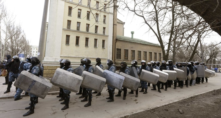 "Image: \""Berkut\"" members in the eastern city of Donetsk on Feb. 23"