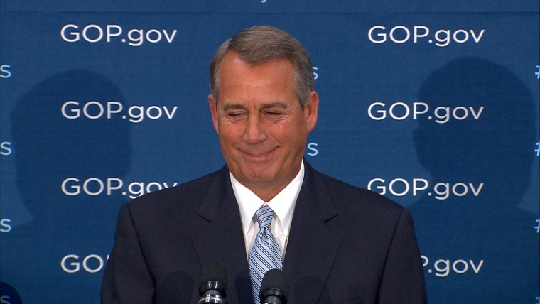 House Speaker John Boehner caricatured GOP House members, portraying them as whiners fearful of an immigration vote in a speech caught on video.