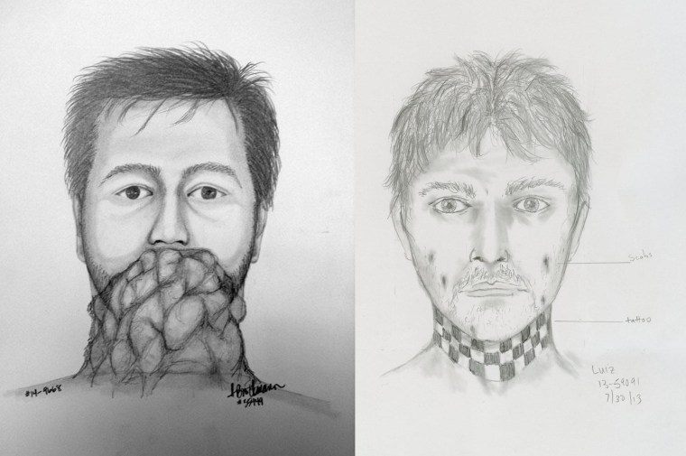 Portland, Ore., police released sketches over the past year looking for a flasher (l.) and in a separate incident, of a man who stabbed a bus driver (r.).