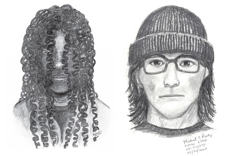 Authorities in Somerset County, N.J., released a sketch in December of a man (l.) who assaulted an elderly couple. In 2008, the Washington County Sheriff's Office in Oregon released a sketch of a man (r.) wanted for robbing an elderly man at gunpoint.