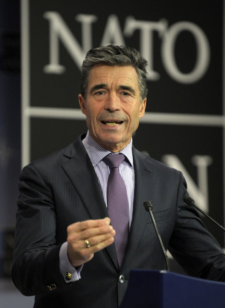 Image: NATO Secretary-General Rasmussen holds a news conference during a NATO defence ministers meeting at the Alliance headquarters in Brussels