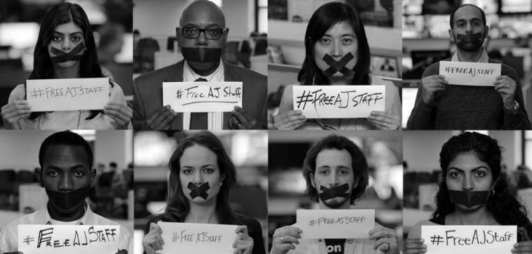 Al Jazeera is calling for a Global Day of Action with a focus on social media Thursday to demand the release of four journalists locked up in Egypt's prisons.