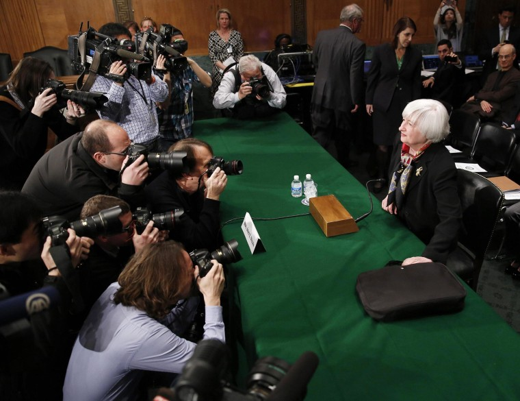 Federal Reserve Board Chair Yellen said harsh winter weather may have skewed recent economic data, so the Fed's monetary policies should remain in effect for the time being.