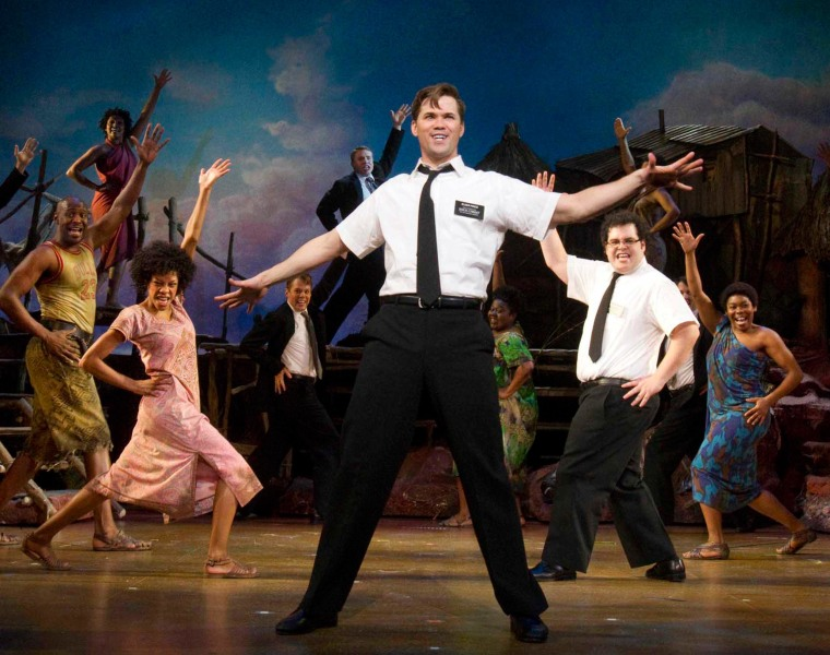 "Andrew Rannells, center, performs in ""The Book of Mormon"" at the Eugene O'Neill Theatre in New York in a publicity photo."