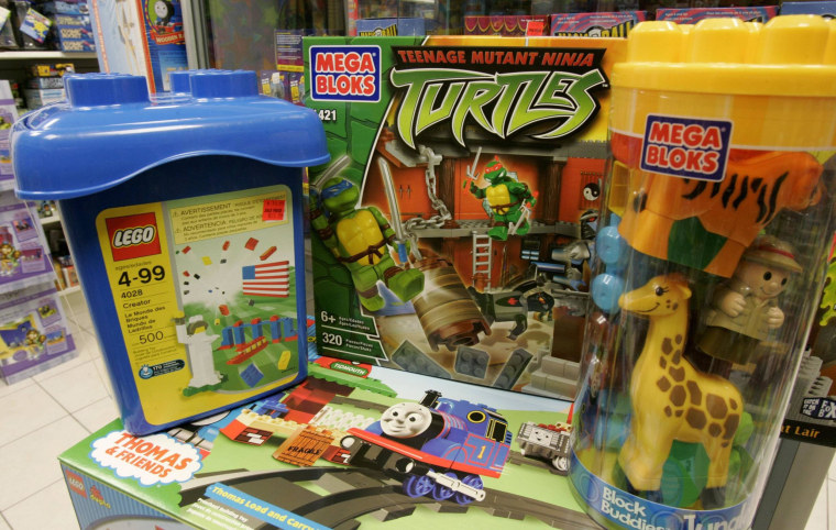 Mega Bloks and Lego toys are pictured in store in Toronto