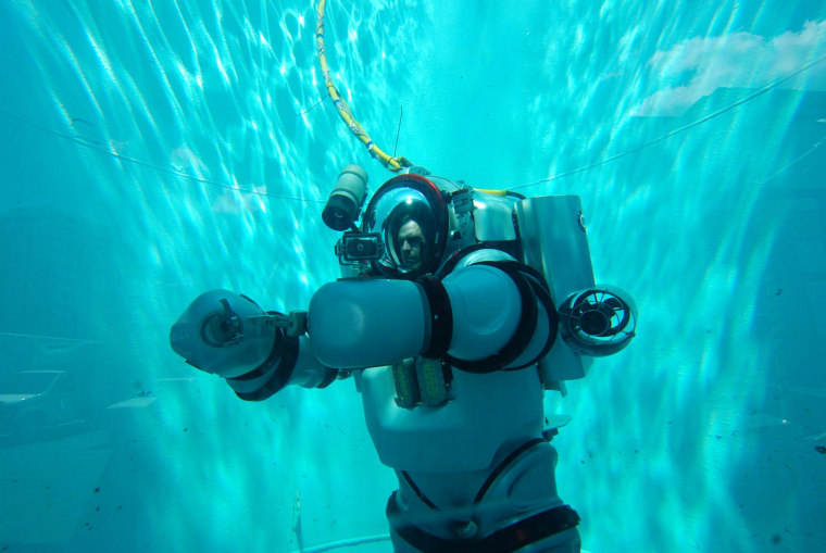 The Exosuit will allow scientist to observe marine animals as they migrate vertically on a daily basis from deep within the ocean's darkest abysses to the surface.