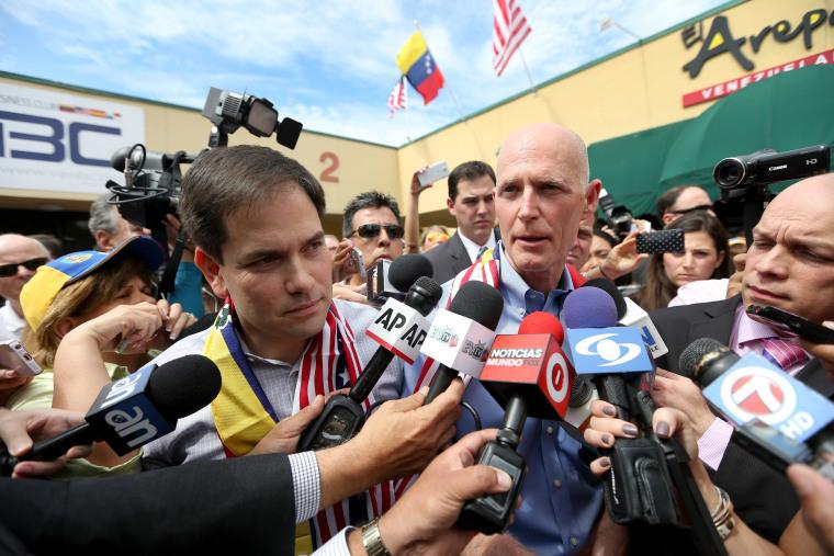 Image: Sen. Rubio And Florida Gov. Scott Discuss Venezuela's Unrest Effect On Florida Families