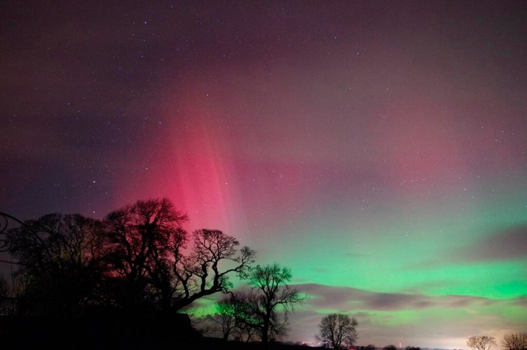 Image: Aurora borealis is seen in the night sky over Cumbria in northwest England