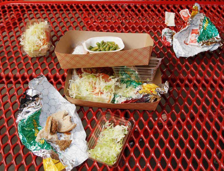Image: Vegetables on school cafeteria trays