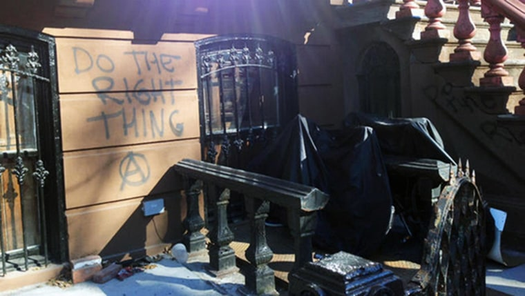 Image: The stoop of the former Washington Park home of Spike Lee was vandalized three days after he delivered a rant against gentrification.
