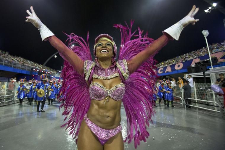 Members of 'Grupo Especial Dragoes da Real' samba school perform Carnival celebrations at the Sambadrome in Sao Paulo, Brazil, on Friday night.