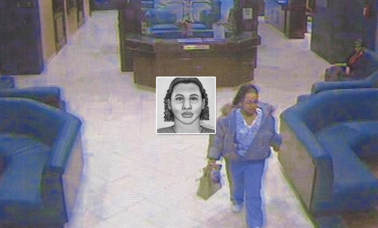 Video still from a security camera of Rayshaun Parsons after she disguised herself as a hospital worker in Lubbock, Texas, and kidnapped a baby from the maternity ward in 2007.