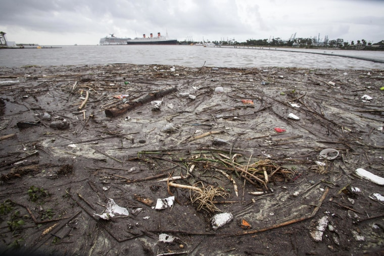 Trash collects along the shore after after a rainstorm in Long Beach, Calif.