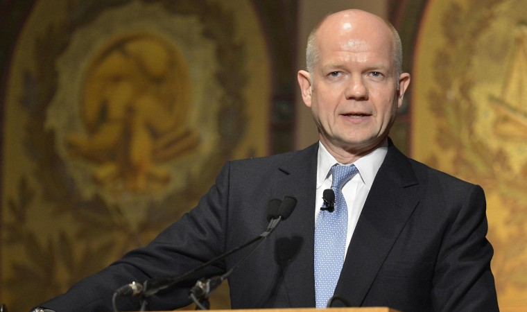 Image: Britain's Foreign Secretary Hague makes remarks at Georgetown University in Washington