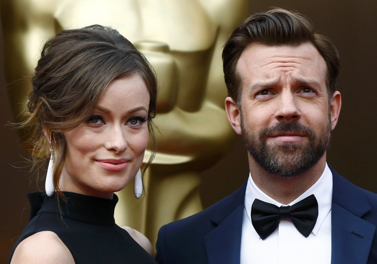 Image: Actors Olivia Wilde and Jason Sudeikis arrive at the 86th Academy Awards in Hollywood