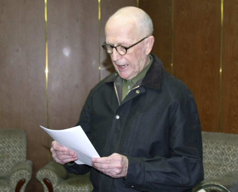 Image: KCNA picture shows Australian missionary John Short holding his written apology