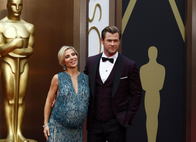 Image:  Actor Chris Hemsworth and wife Elsa Pataky arrive at the 86th Academy Awards in Hollywood