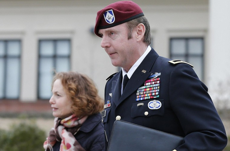 Image: Army Brigadier General Sinclair leaves the courthouse with one of his attorneys Ellen Brotman at Fort Bragg in Fayetteville