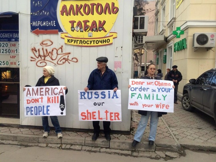About 50 protesters in Simferopol, Crimea, gathered to protest the news that U.S. and other military observers were coming to Ukraine.