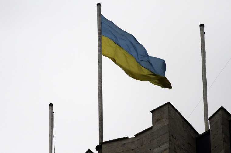 Image: The Ukrainian flag flies on top of the regional administration building in the eastern Ukrainian city of Donetsk