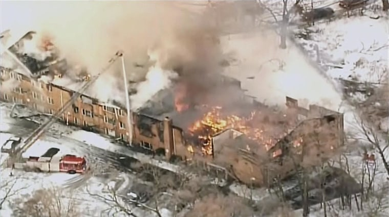Apartment building fire in Detroit on March 5, 2014.