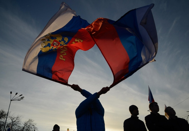 Pro-Russian demonstrators take part in a rally in the Crimean town of Yevpatoria on Wednesday.