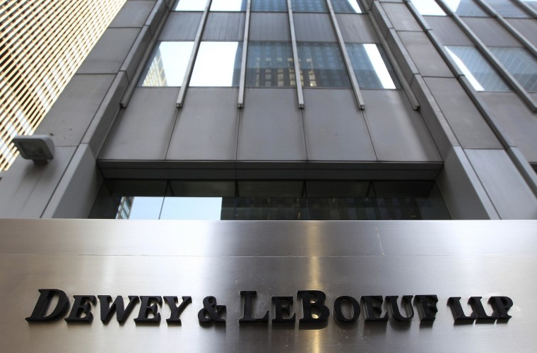 A sign marking the former headquarters of Dewey & LeBoeuf LLP headquarters in New York.