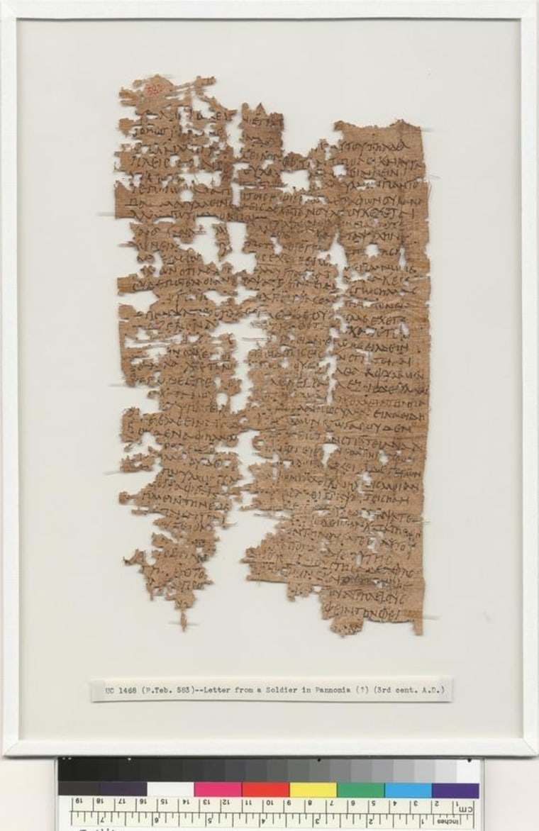 Dating back about 1,800 years, this letter was written, mainly in Greek, by Aurelius Polion, an Egyptian man who served with the legio II Adiutrix legion around modern-day Hungary. I