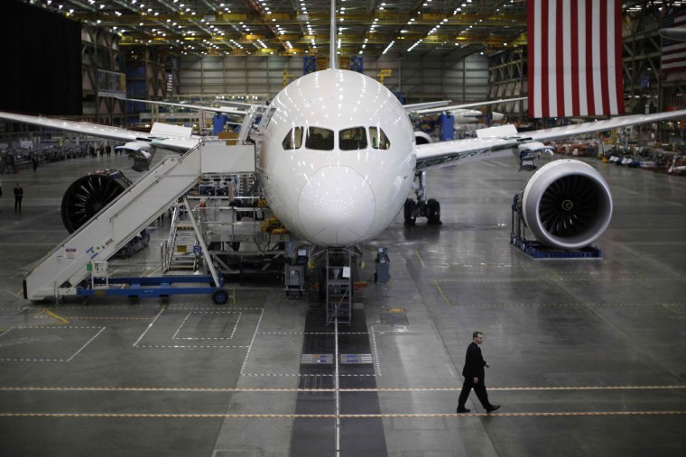 A Boeing 787 Dreamliner is seen under construction at the Boeing facility in Everett.