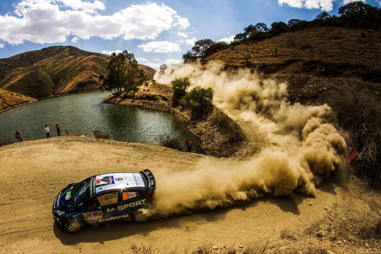 Image: Elfyn Evans of Great Britain driving his Ford Fiesta RS during the first leg of the World Rally Championship, near Guanajuato, Mexico