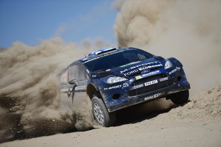 Image: Mikko Hirvonen and Jarmo Lehtinen of Finland compete in their M-Sport WRT Ford Fiesta RS WRC during Day One of the WRC Mexico on March 7, 2014 in Leon, Mexico