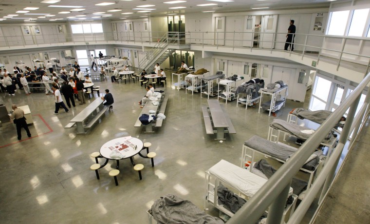 """Image: The """"B"""" cell and bunk unit of the Northwest Detention Center in Tacoma, Wash."""
