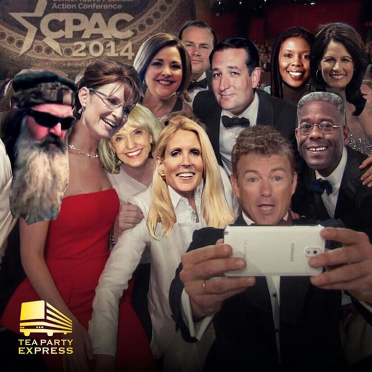 Image: A photo released by the Tea Party Express on Twitter shows CPAC attendees in Ellen DeGeneres' Oscar's selfie using Photoshop.