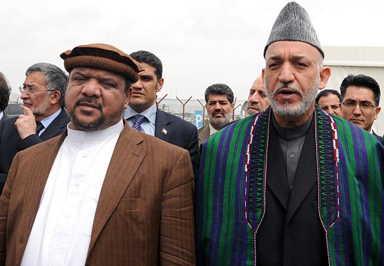 Image: Mohammad Qasim Fahim and Hamid Karzai in 2009